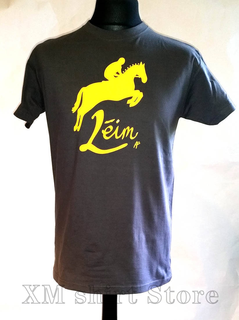 Camiseta de caballo gris irlandés con estampado divertido para hombre y mujer, camisetas informales con cuello redondo