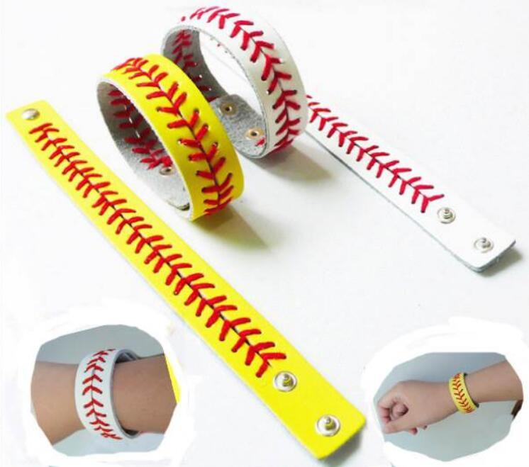 Модные спортивные плетеные кожаные браслеты, бейсбольный мяч в елочку, ремешок на запястье, украшение для ювелирных изделий LX6983