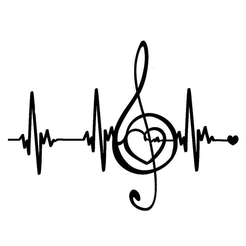 18CM * 13,3 CM creativo música pulso latido del corazón líneas de vinilo pegatina para coche silueta S9-0727