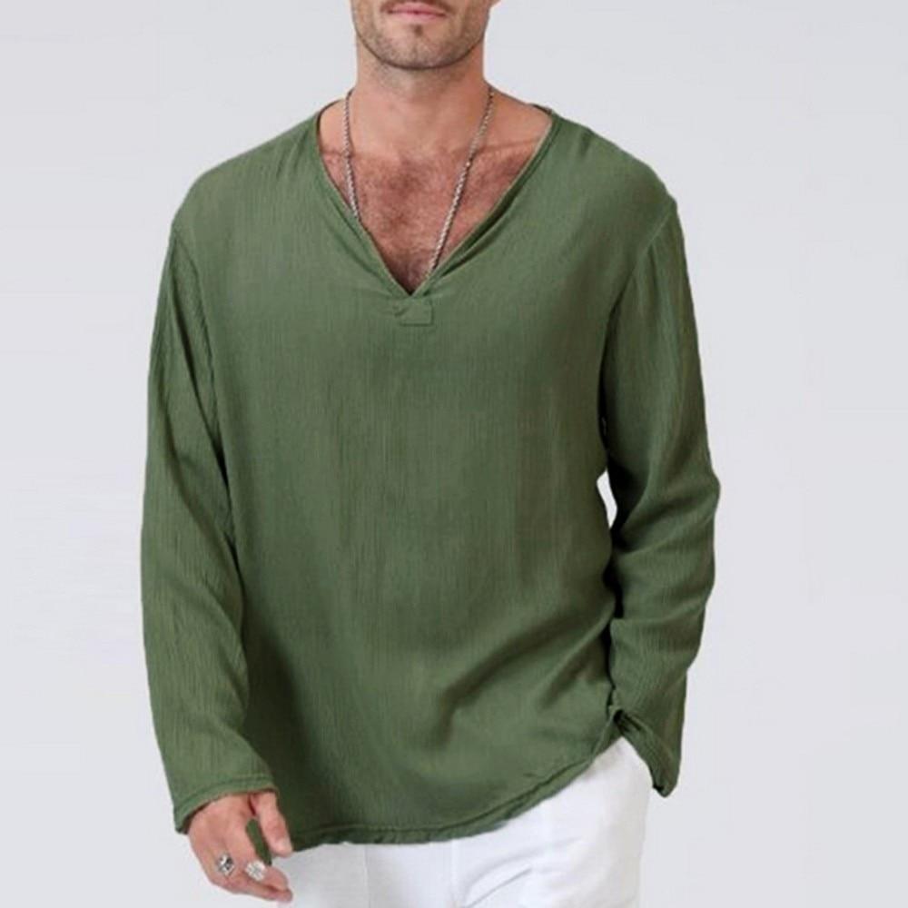 Nueva sudadera de moda para hombre, camiseta de lino informal con botones de otoño e invierno, camiseta Hippie tailandesa sólida con cuello en V, blusa Top de Yoga para la playa, 4,17