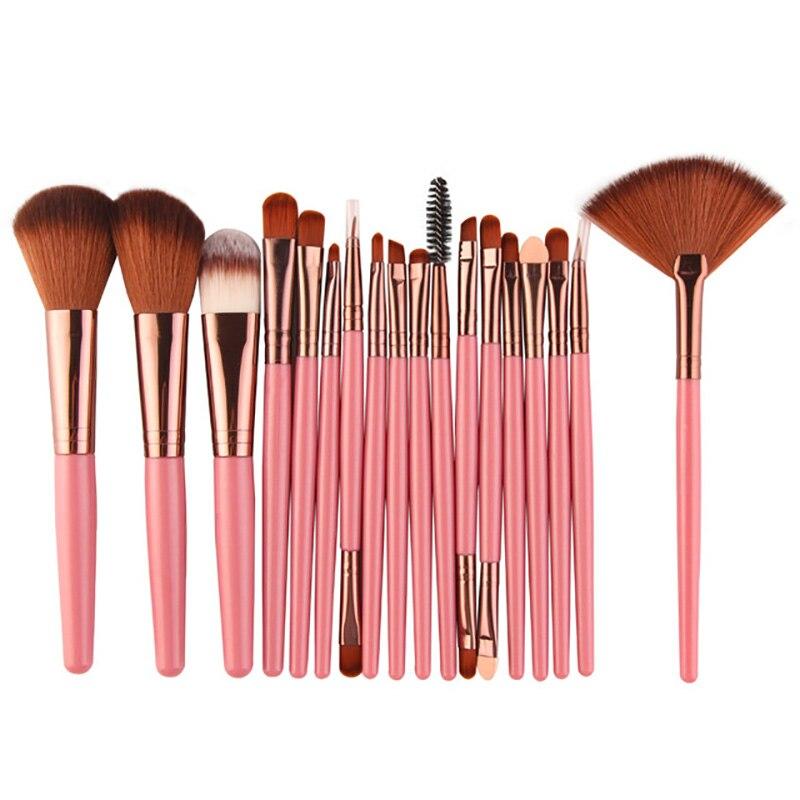 Gran oferta 2018, 18 unidades por paquete, conjunto de brochas de maquillaje, cosmético, sombra de ojos en polvo, base, colorete, fusión para belleza, brocha de maquillaje