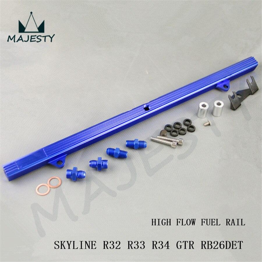 Carril de inyector de flujo combustible alto Billet para SKYLINE R32 R33 R34 GTR RB26DETT RB26 blue