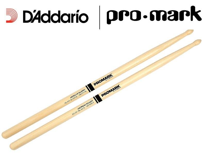 Promark by Daddario Select Balance hacia adelante/rebote baquetas de nogal americano 5A/5B, gota de lágrima de punta de madera