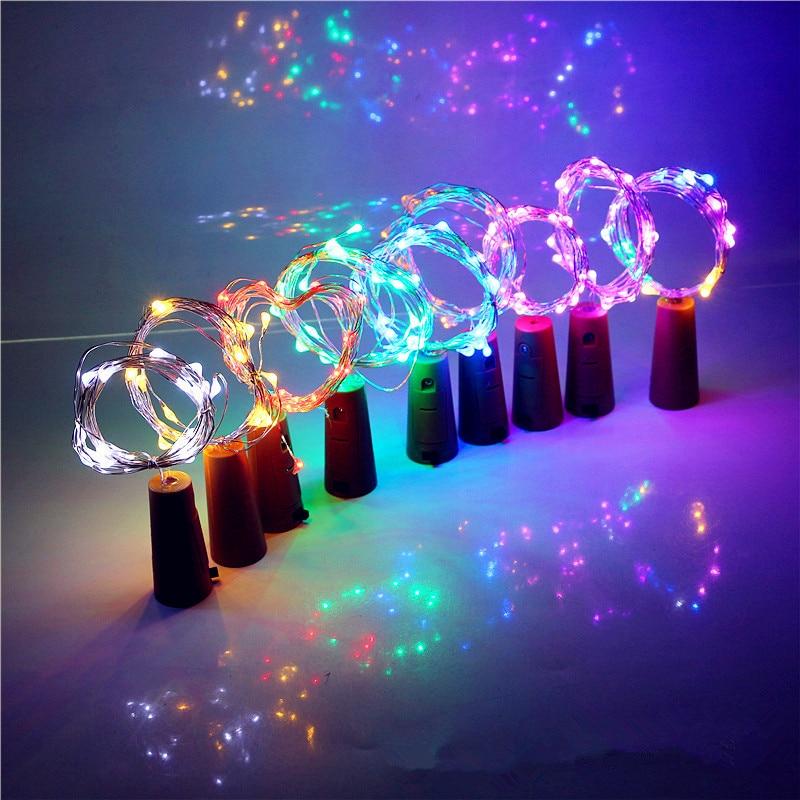 Лампа для пивной бутылки с пробковой формой 1 м 10LED медная Серебряная струнная Лампа для рождественской свадьбы, украшения сказочного света