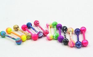 100pcs Body Jewelry Piercing  Tongue  Ring Barbells Nipple Bar 14G~1.6mmx16mmx6mm Mix Nice Colors