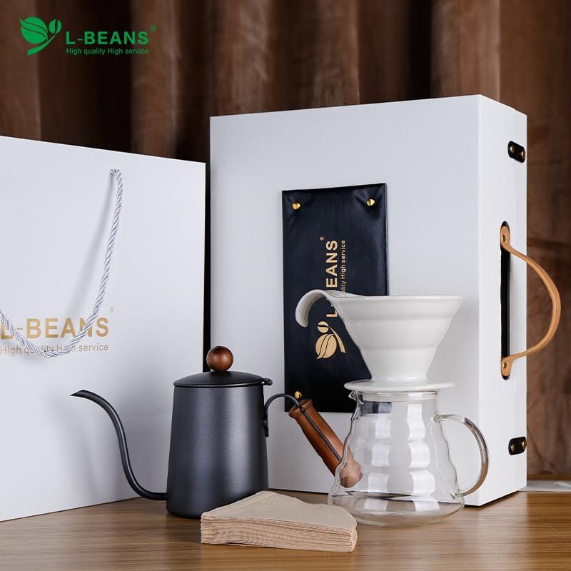 Juego de máquina de hacer café con perforadora de mano, caja de regalo, filtro de gota, taza de café para el hogar, aparatos de cocina combinados