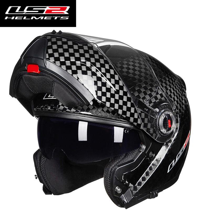 Original LS2 FF394 flip up motorcycle helmet 12K carbon fiber adult modular full face helmet with inner sunglasses helmets