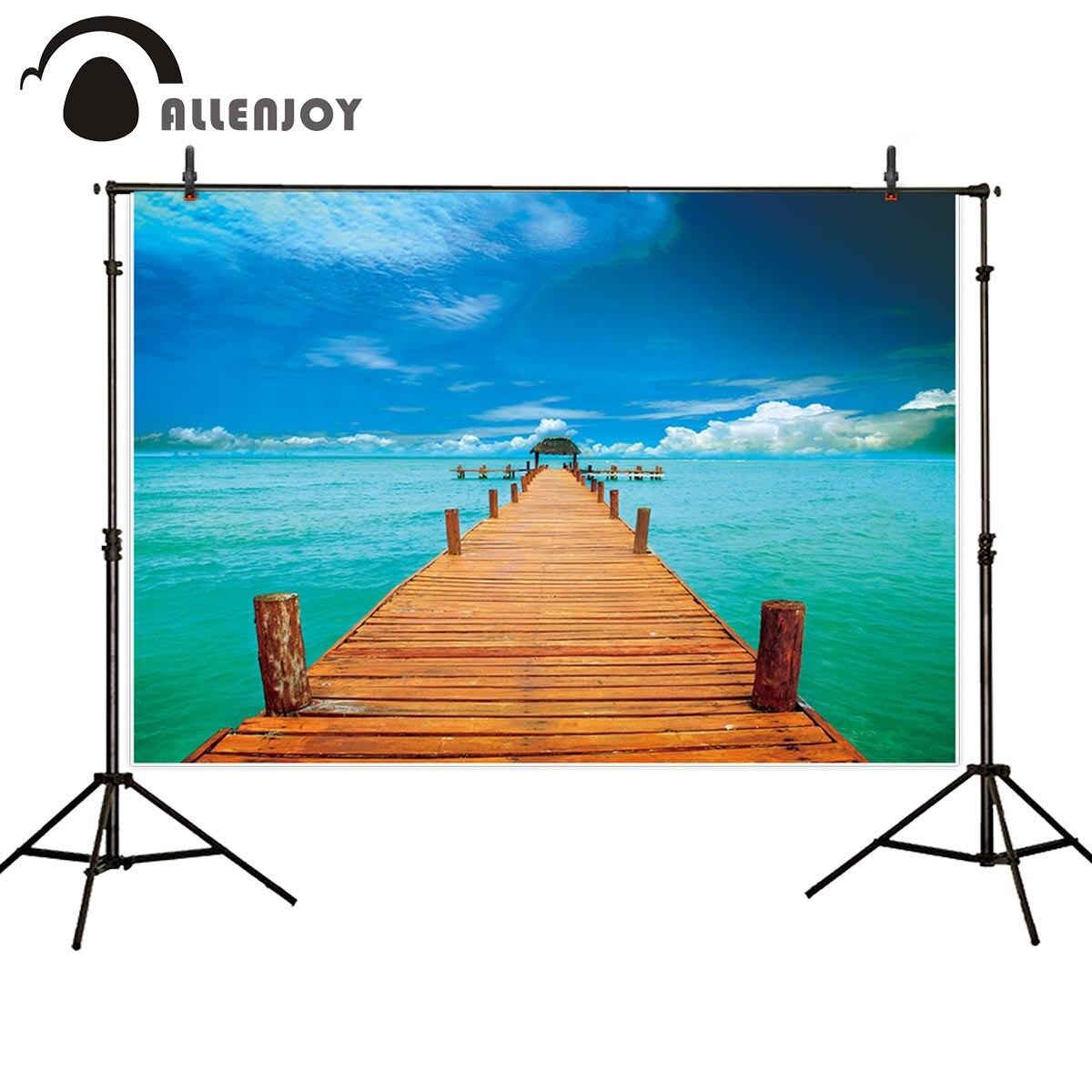 Fondo Allenjoy para vacaciones fotográficas de verano puente de madera cielo azul nubes fotografía fondo fotográfico para foto