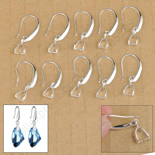Lote de 20 unidades de accesorios para joyería, pendiente de joyería de plata de ley 925, gancho liso para Arete, gancho para abalorio de cristal