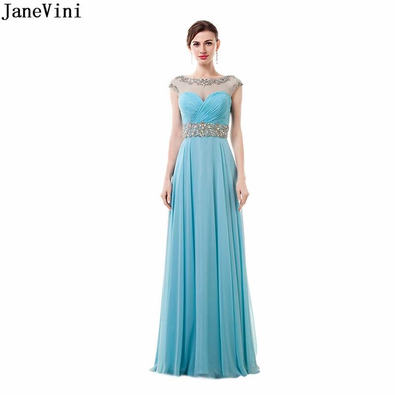 JaneVini Luz elegante azul de gasa de vestidos de damas de honor con cuello cuchara cuello cordón sin respaldo Sexy fiesta vestidos fiesta