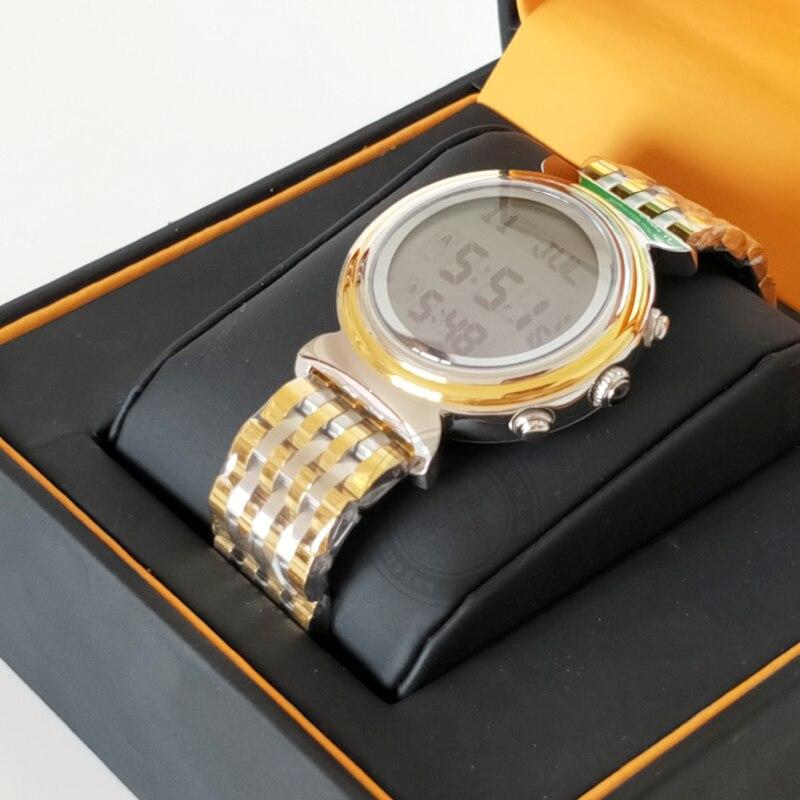 Relógio de pulso à prova dwaterproof água qibla bússola azan muçulmano adhan relógio al harameen fajr tempo melhor presente para o ramadã
