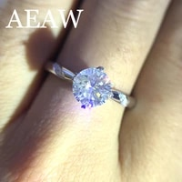 2 carat 8mm round cut engagementwedding moissanite diamond ring solid genuine 14k 585 white gold for women