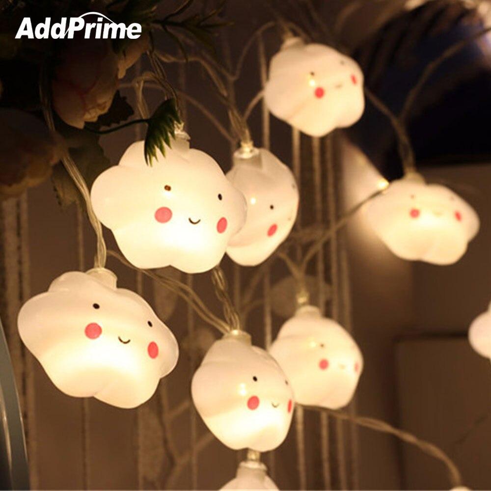 3.5M 20 Led Smiley Cloud łańcuchy świetlne na boże narodzenie w domu wakacje wesele dekoracja kryty LED Light String AA baterii