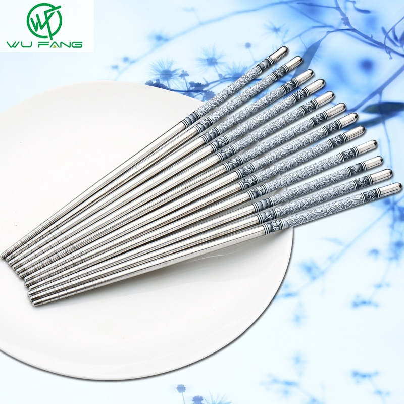 5 pares de palillos chinos impresos con flores palillo de comida de acero inoxidable palillos chinos tradicionales vajilla para restaurante de cocina