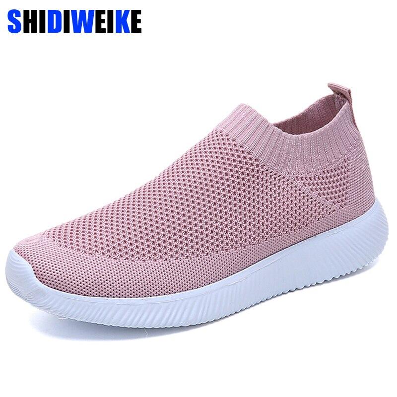 Zapatillas de deporte de verano transpirables de malla blanca, zapatos informales para mujer, zapatillas planas negras, zapatos de mujer, calzado para mujer n660