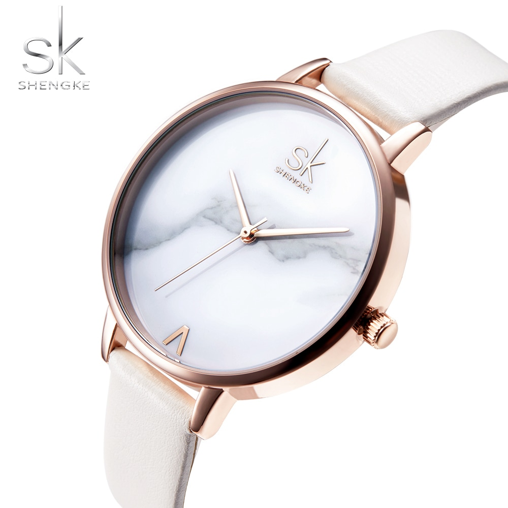 Shengke Top Brand Fashion Ladies Watch Elegant Marble Women Wrist Watch Women Watches SK Womens Watches Clock reloj mujer