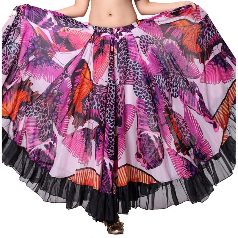 الأزهار تنورة لل رقص التنانير فراشة نمط 360 درجة دائرة كاملة الغجر الفلامنكو التنانير الطويلة النساء الرقص الشرقي