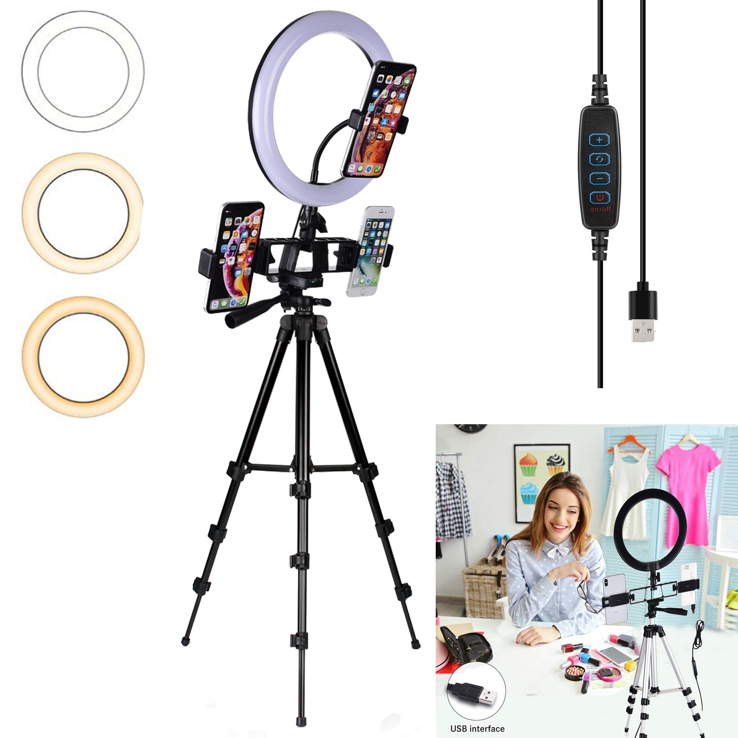 LED Ring Licht Dimmbare Ringlight Bi Farbe 3200K 5500K Fotografie Foto Studio für YouTube Video Schießen Lampe Schwarz stativ