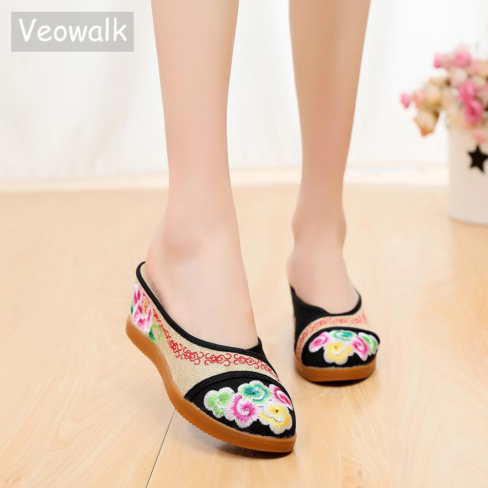 Veowalk Vintage Women Linen Cotton Embroidered Close Toe Slippers Wedge Heel Platforms Shoes for Ladies Woman Comfort Slides