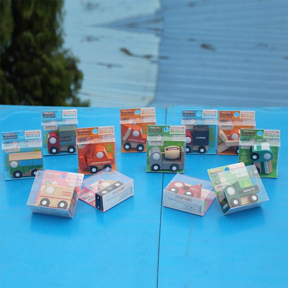 1 Juego de modelos creativos de coche de madera de múltiples patrones, Mini vehículos de madera, camión, juguete de juguete para niños pequeños, regalo educativo, juguete de Color aleatorio y diseño