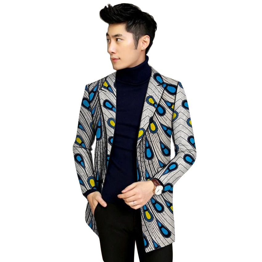 Traditional cultural wear mens africa long jacket clothing fashion african clothes overcoat casual robe blazers africaine