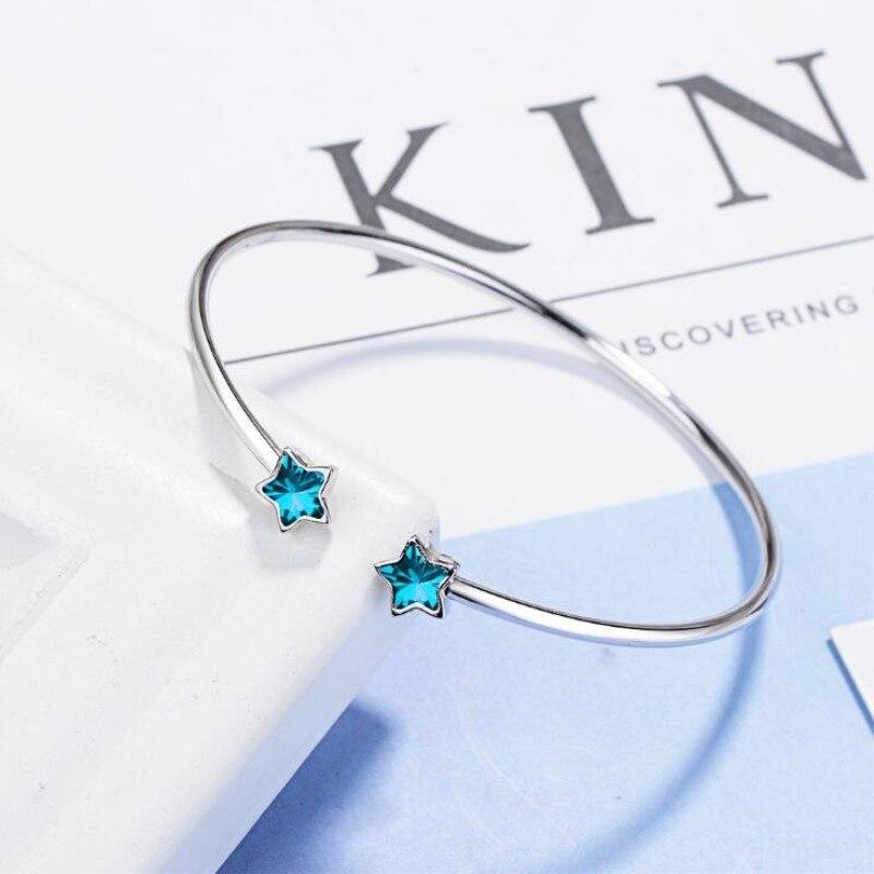 Brazaletes de joyería de plata de ley 925 con hermosa moda de creatividad al estilo coreano, pulseras de cristal con estrella azul de cinco puntas SB123