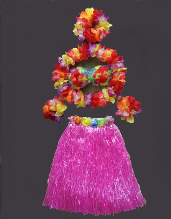 Vestido de baile Hula flor juego Hawaii Hula danza hierba faldas 60 CM