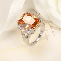 classic big champagne cz stone ring large single orange crystal cz cut luxury 925 sterling silver ring women jewelry