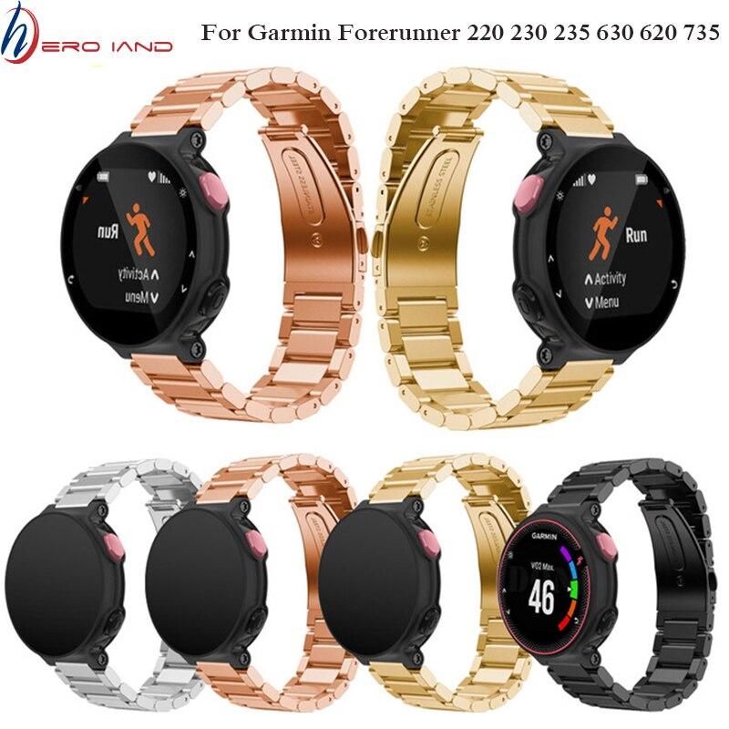 Repuesto de pulsera, correa de Metal de acero inoxidable para relojes Garmin Forerunner 220 230 235 630 620 735 735XT