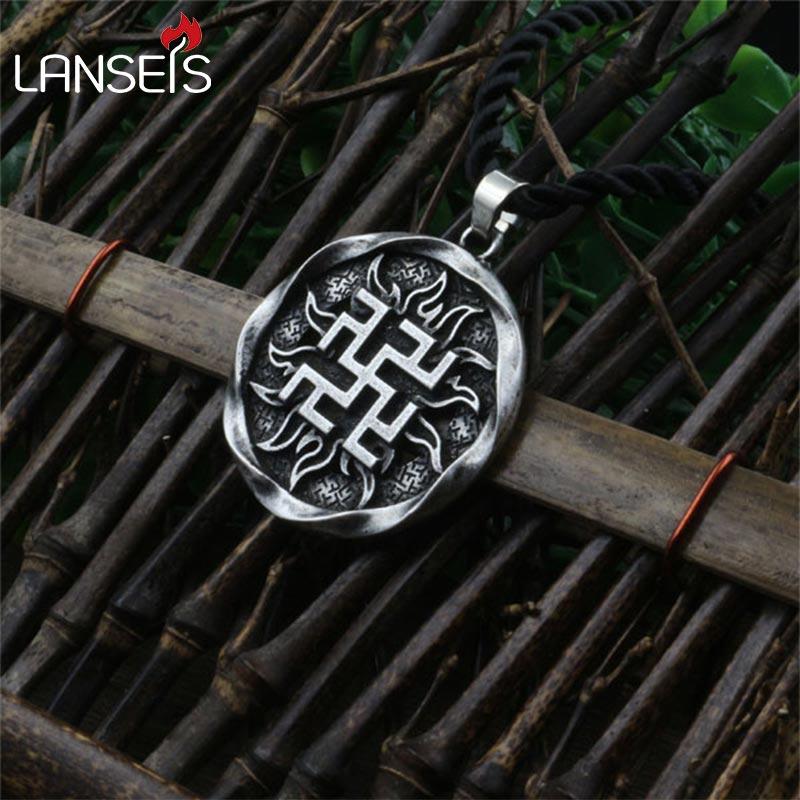 1pcs Fern Flower pendant Ancient Slavic Amulet symbol warrior talisman pendant norse Occult Pagan jewelry Germanic men necklace