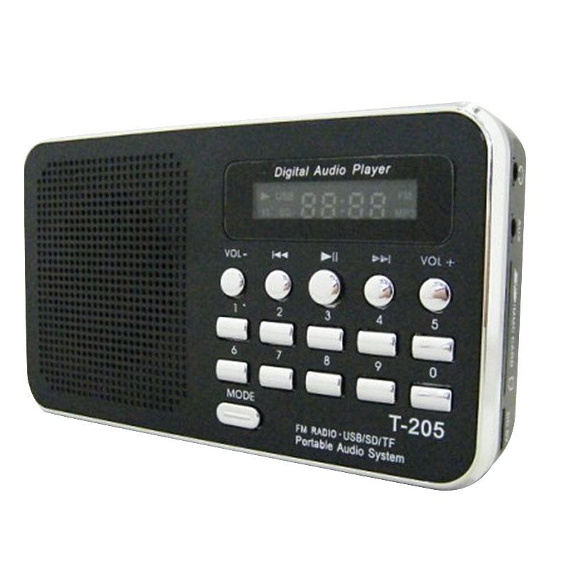 T- 205 FM Radio altavoz portátil de alta fidelidad Multimedia Digital MP3 música altavoz soporte TF tarjeta AUX Camping senderismo deportes al aire libre