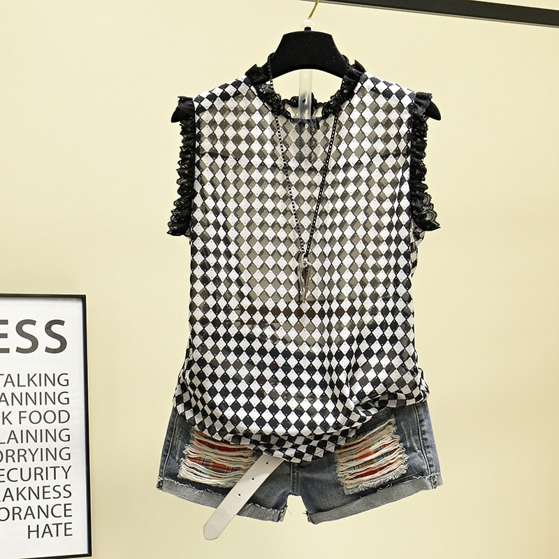 2019 New Summer Fashion Plaid Women Pullovers Top Large Size Sleeveless Tanks Out Wear Perspective Shirts All-match