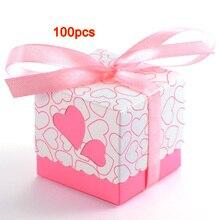 Boîte à bonbons coupée au Laser en cœur   Ensemble de 100, boîtes à dragées ajourées pour mariage pour filles garçons anniversaire garçons, fournitures de fête de bricolage