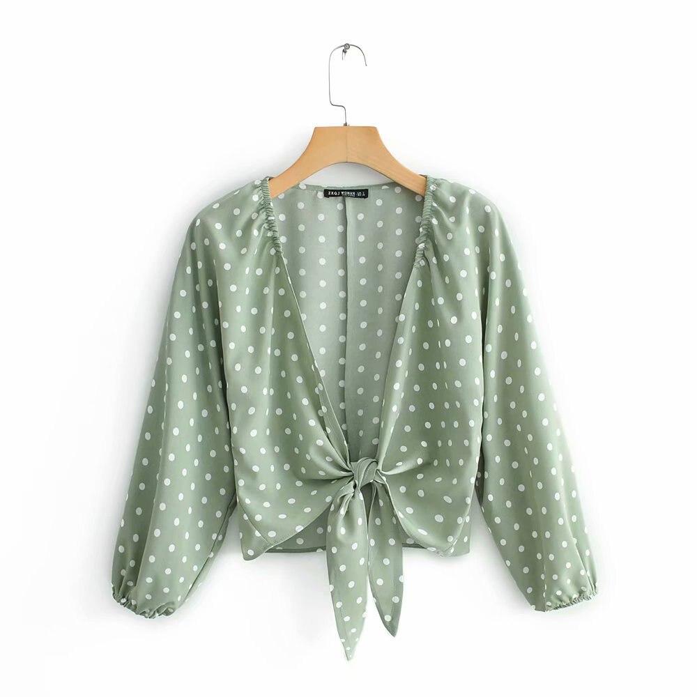2019 Women Green Summer Za Polka Dota Blouse Female Fashion Lace Up Bow Long Sleeve Shirt For Sweer Lady Street-wear Tops Femme