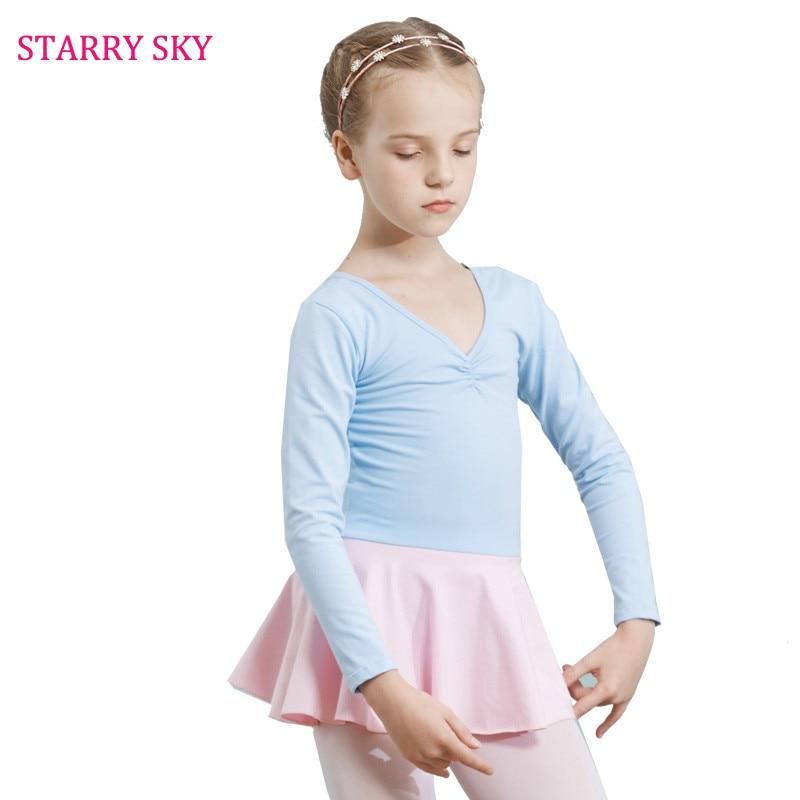 Children Body Dance Clothes Ballet Dress Long Sleeve Body Practice Cotton Level Examination Serve Kids Show Ballet Siamese Skirt