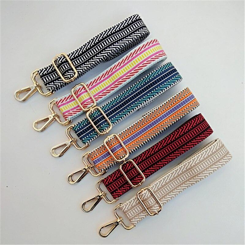 Diy colorido saco cinta para crossbody feminino acessórios saco arco-íris ajustável alça de ombro saco de náilon obag alças cinto w226