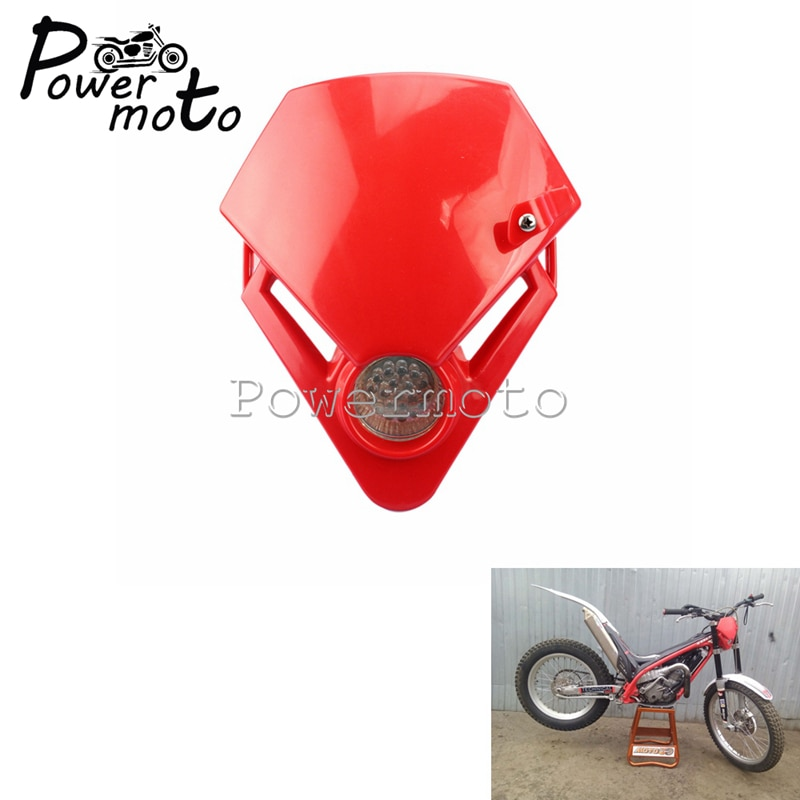 Faro delantero LED rojo para motocicleta, para carreras de Motocross, para Enduro,...