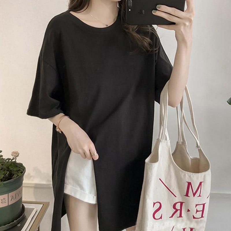 Elegant Women O Neck Side Split Irregular Casual Tops Female Solid Color Short Sleeve Tshirts Harajuku Streetwear Long T-shirts