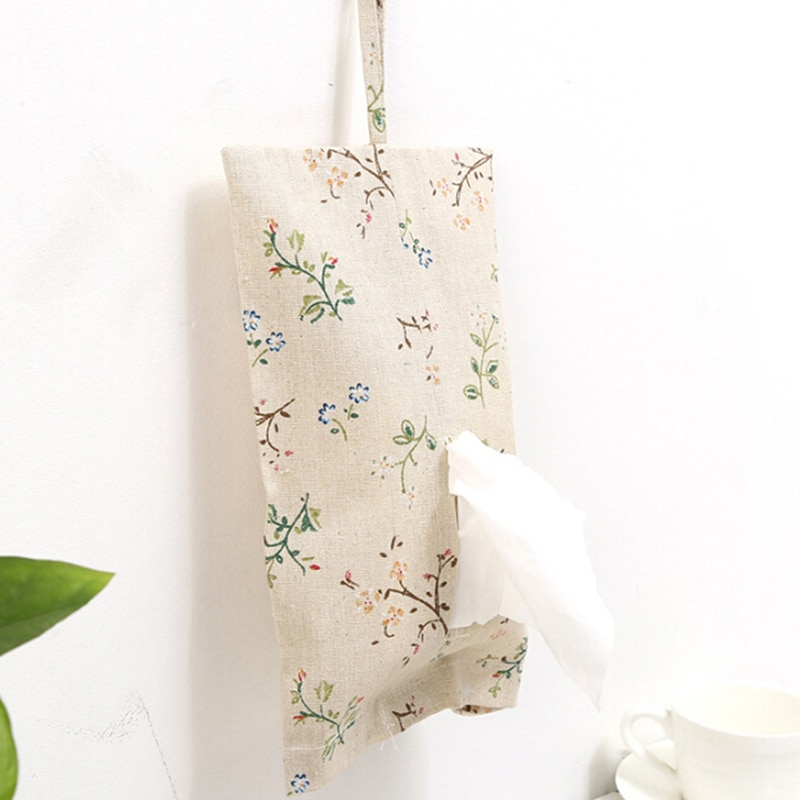 Home Tools Furnishing Garden Floral Print Tissue Box Storage Bag Cloth Towel Sets Paper Towel Hanging Bag Pulling Bag