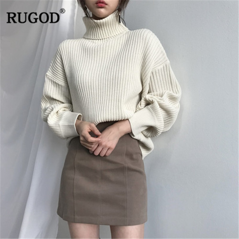 RUGOD, suéter Vintage de moda para mujer, Jersey Casual de cuello alto liso para mujer, jerséis de talla grande de punto, ropa de invierno para mujer, pull femme hiver