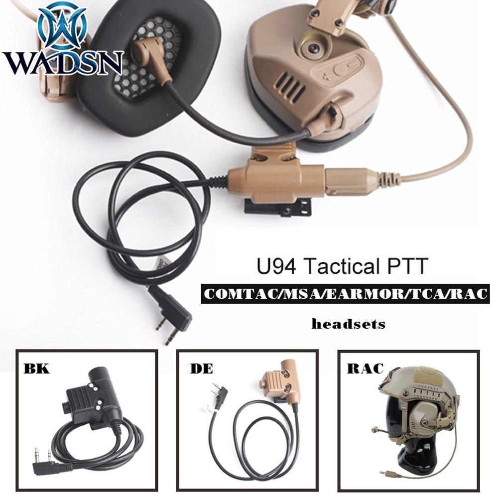 Cascos tácticos WADSN U94 PTT para TMC-RAC, 7 tipos de conectores BK PTT para RAC TMC COMTAC/MSA/TCA/TRI Softair, accesorios de auriculares WC001