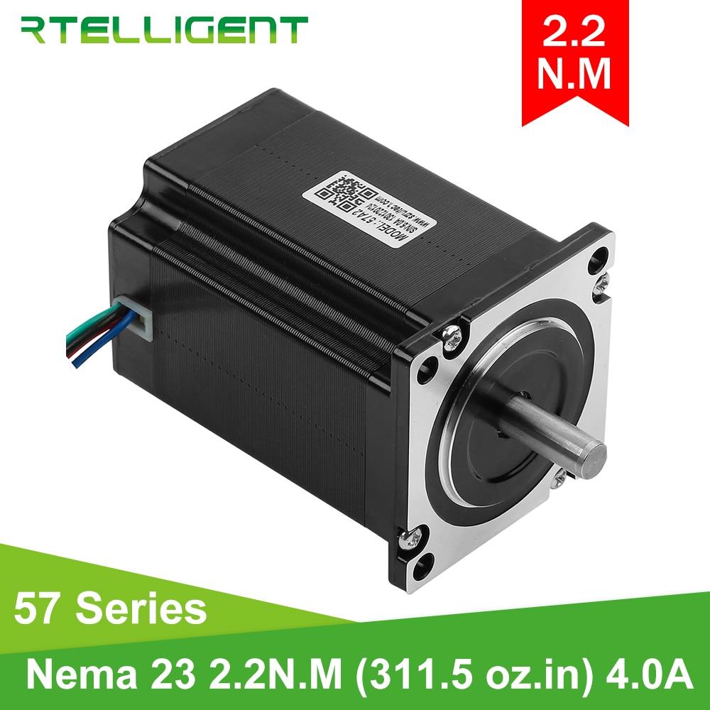Rtelligent Nema 23-in Stepper Motor ، 2.2N.M(22kg cm) ، 311.5 Oz-in ، عمود 80 مللي متر ، الماس 8 مللي متر 57A2 ، محرك متدرج للطابعة ثلاثية الأبعاد