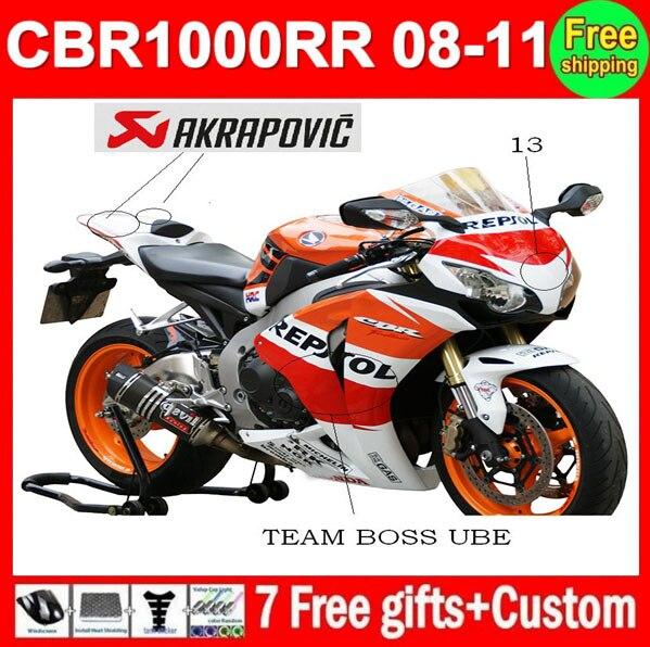 Inyección de 100% para HONDA CBR1000RR 08 Repsol 09 10 11 CBR 1000 1000RR CBR1000 RR 2008 naranja, rojo, negro 2009 2010 2011, carenado