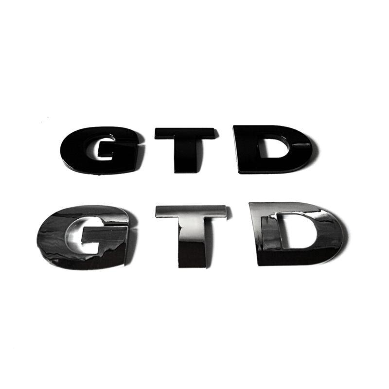 100 pçs/lote 3d plástico gtd emblema do carro emblema adesivo logotipo