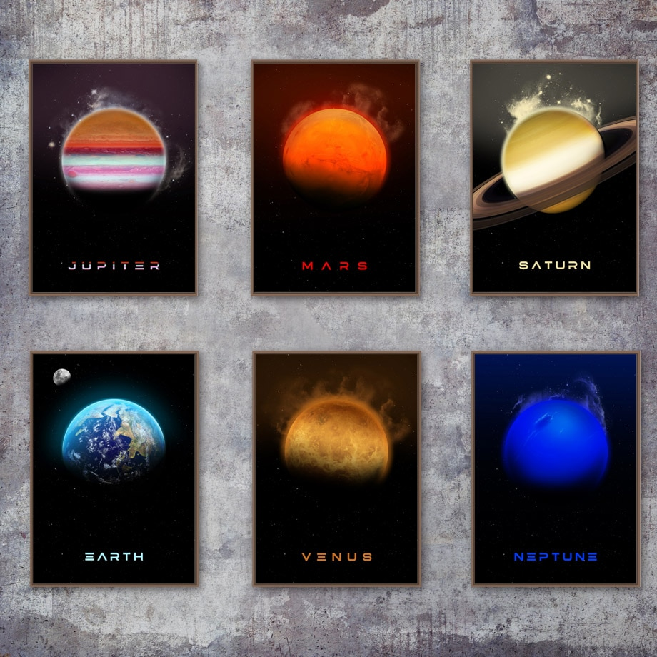 Solar System Planet Earth Space Nursery Wall Art Canvas Painting Nordic Posters And Prints Wall Pictures For Living Room Decor