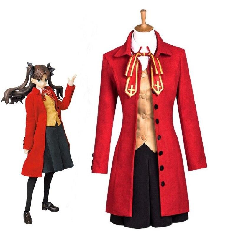 Disfraz de noche de Anime de Fate Stay, disfraz de Rin Tohsaka, disfraz de Halloween para mujer, gabardina, chaleco, falda, conjunto completo, disfraz Cosplay