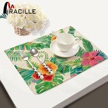 Miracille 2/4/6 pièces ensemble cuisine Table napperons série végétale motif coton lin maison accessoires cuisine boisson sous-verres
