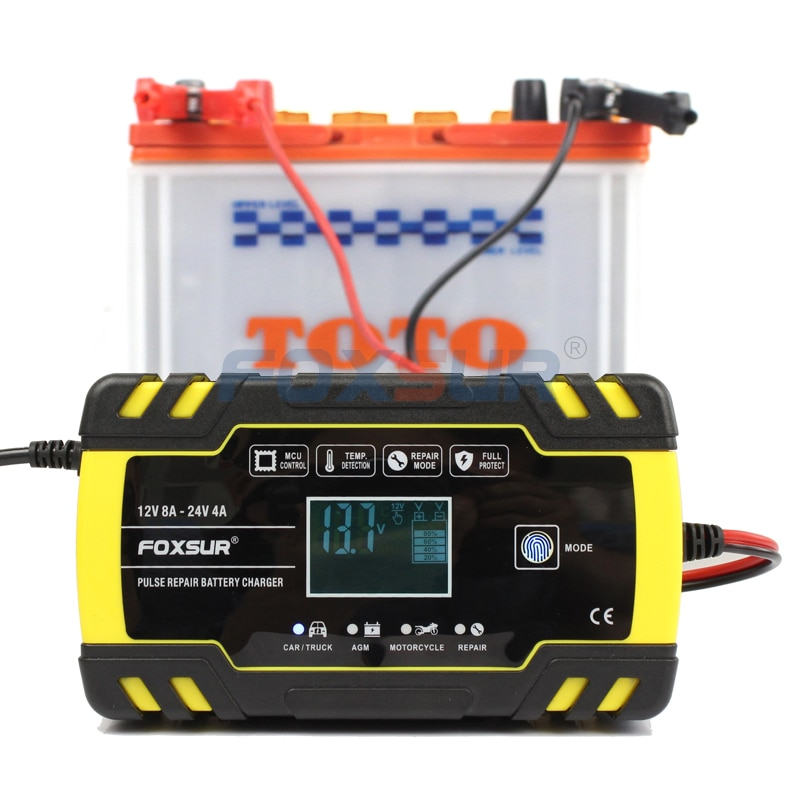 FOXSUR 12V 24V 8A Automatic Smart Battery Charger, 3-stage smart Battery Charger, Car Battery Charger for GEL WET AGM Battery