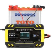 Cargador de batería inteligente automático FOXSUR 12V 24V 8A, cargador de batería inteligente de 3 etapas, cargador de batería de coche para batería de GEL WET AGM