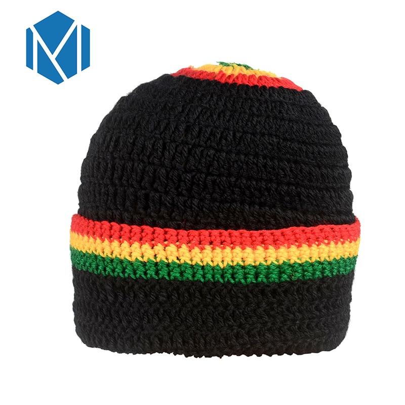 MSIM de Hip Hop gorra hombres Arco Iris rayas de punto Gorras Para Hombre Jamaica rasta de Bob Marley Beanie Reggae Czapka Zimowa sombreros de invierno